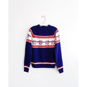 Vintage 70s 80s Blue White Red Ski Sweater sz M
